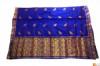 Contrasting Navy Blue and Golden Chador Mekhela Set from Sualkuchi(#711) - getkraft.com