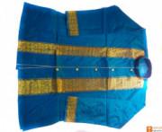 Mens Pure Pat Silk Handmade Kurta (sky blue)(#712) - getkraft.com
