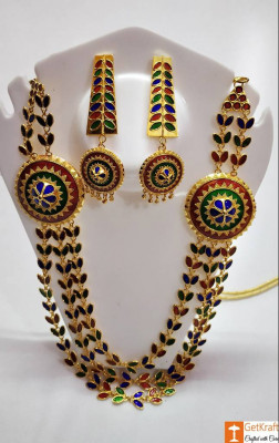 Solid Jaapi Haar Set Assamse Jewellery with Multicolored Meena(#722)-gallery-0
