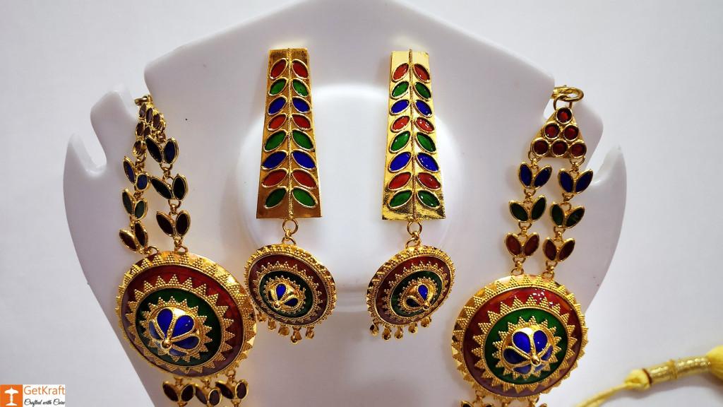 Solid Jaapi Haar Set Assamse Jewellery with Multicolored Meena(#722)-gallery-1