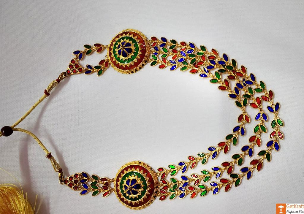 Solid Jaapi Haar Set Assamse Jewellery with Multicolored Meena(#722)-gallery-2