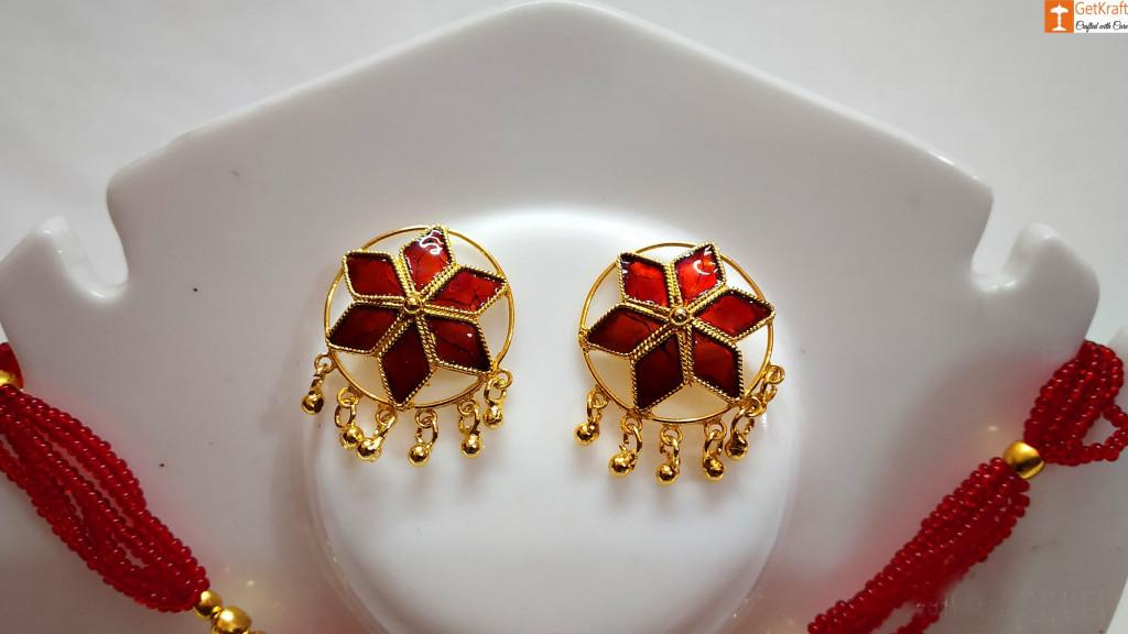 Traditional Assamese Jewellery - Medium Sized Japi Necklace Set(#727)-gallery-2