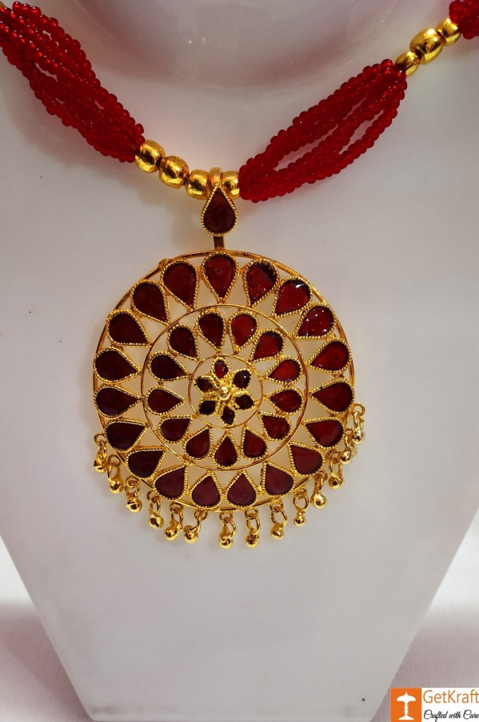 Traditional Assamese Jewellery - Medium Sized Japi Necklace Set(#727)-gallery-3