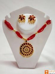 Traditional Assamese Jewellery - Medium Sized Japi Necklace Set(#727) - getkraft.com