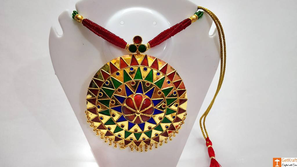 Large Sized Japi Pendant Designer Necklace and Earrings Assamese Jewellery Set(#729)-gallery-0
