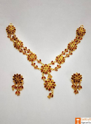 Xewali Phool Haar Set Assamese Traditional Designer Jewellery(#730)-gallery-0