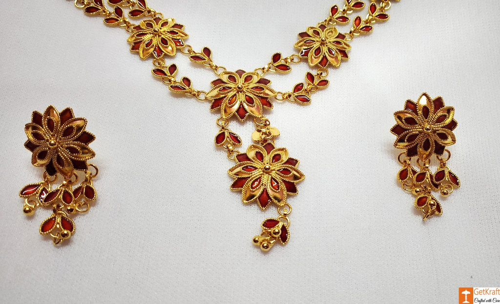 Xewali Phool Haar Set Assamese Traditional Designer Jewellery(#730)-gallery-1