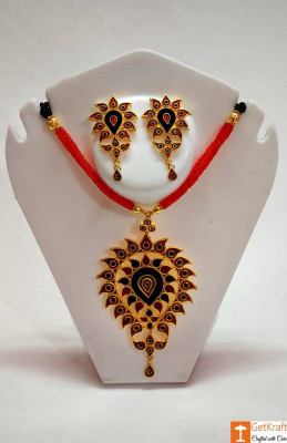 Jethipata Pendant Necklace Set Assamese Designer Jewellery from Assam(#733)-gallery-0