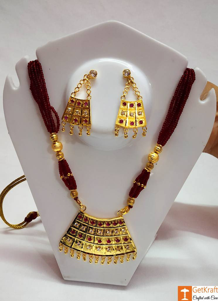 Half Junbiri Necklace Set Assamese Designer Jewellery from Assam(#734)-gallery-0