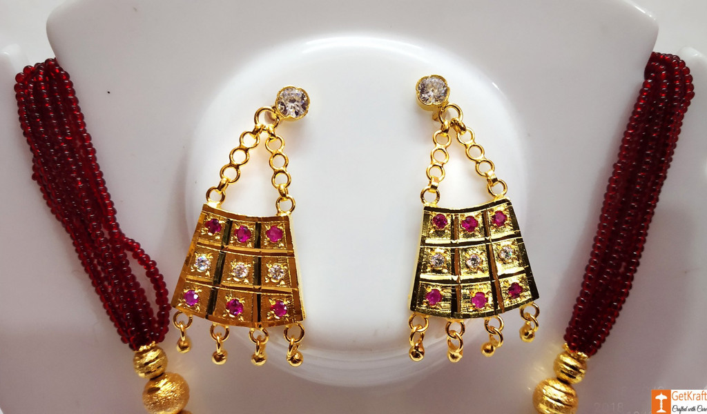 Half Junbiri Necklace Set Assamese Designer Jewellery from Assam(#734)-gallery-1