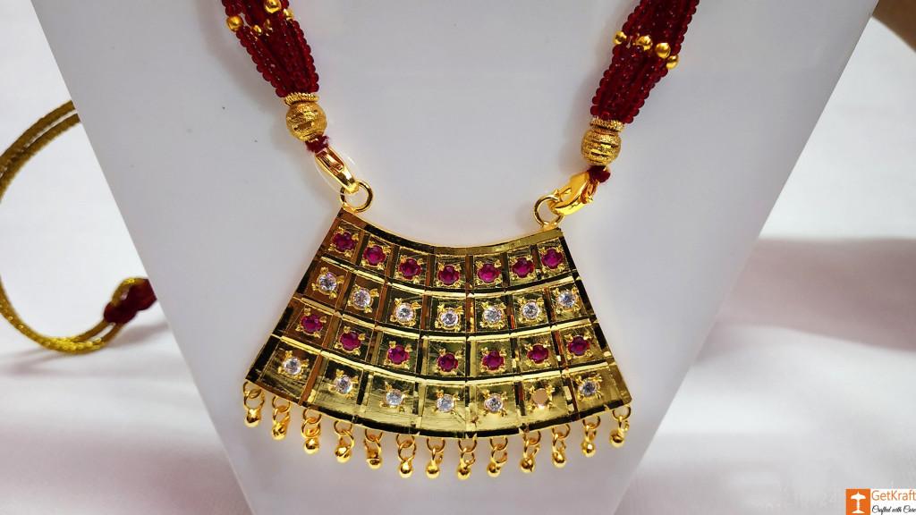 Half Junbiri Necklace Set Assamese Designer Jewellery from Assam(#734)-gallery-2