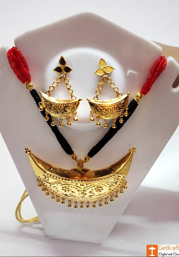 Gorgeous Designer Junbiri Set Assamese Jewellery Necklace Earrings(#735)-gallery-0