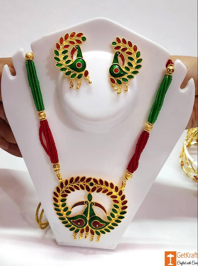 Assamese Traditional Jewellery Mayur Necklace Earrings Set from Assam(#736)-gallery-0