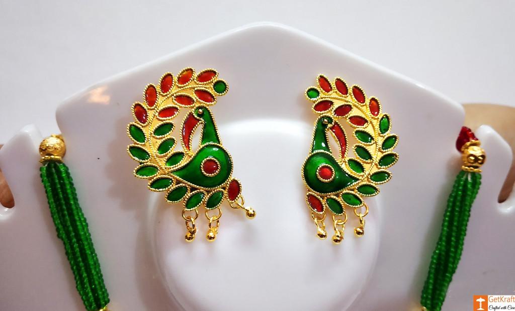 Assamese Traditional Jewellery Mayur Necklace Earrings Set from Assam(#736)-gallery-1