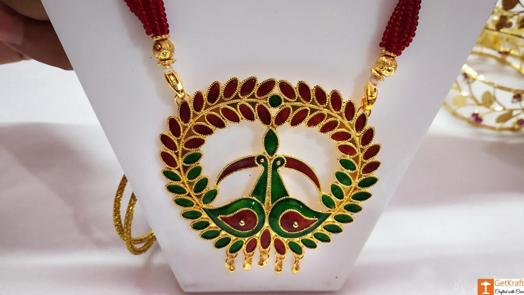 Assamese Traditional Jewellery Mayur Necklace Earrings Set from Assam(#736)-gallery-2