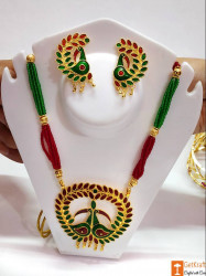 Assamese Traditional Jewellery Mayur Necklace Earrings Set from Assam(#736) - getkraft.com