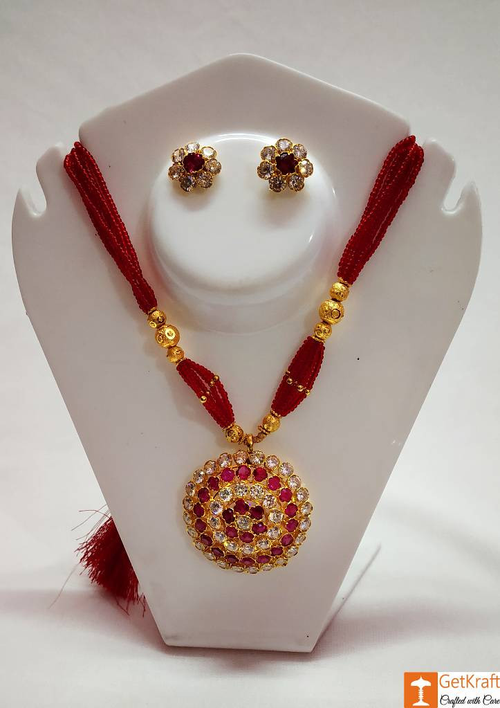 Traditional Jaapi Necklace Set from Assam(#739)-gallery-0
