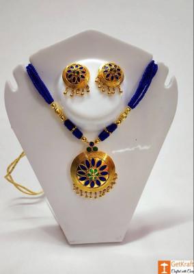 Ravishing Jaapi Necklace Earrings Set Assamese Designer Jewellery(#740)-gallery-0