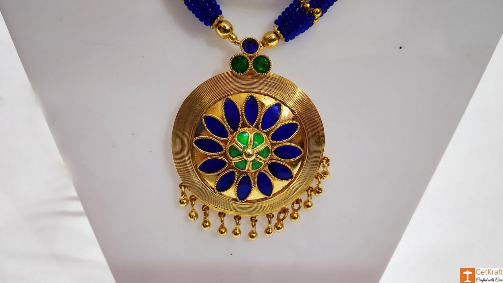 Ravishing Jaapi Necklace Earrings Set Assamese Designer Jewellery(#740)-gallery-2