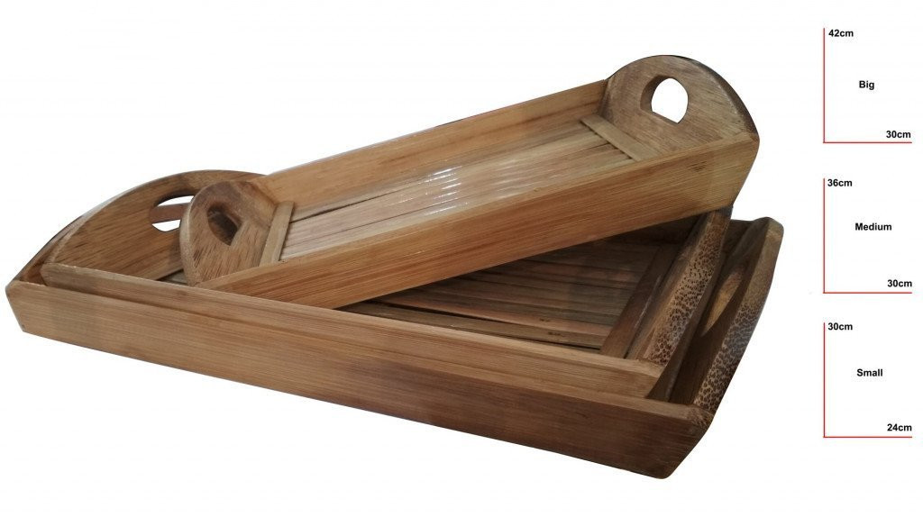Bamboo Tea Trays Big - Medium - Small by DB Industries(#760)-gallery-0