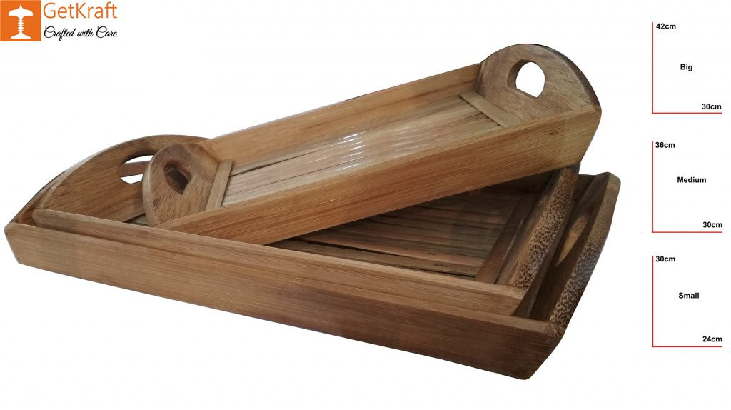Bamboo Tea Trays Big - Medium - Small by DB Industries(#761)-gallery-2