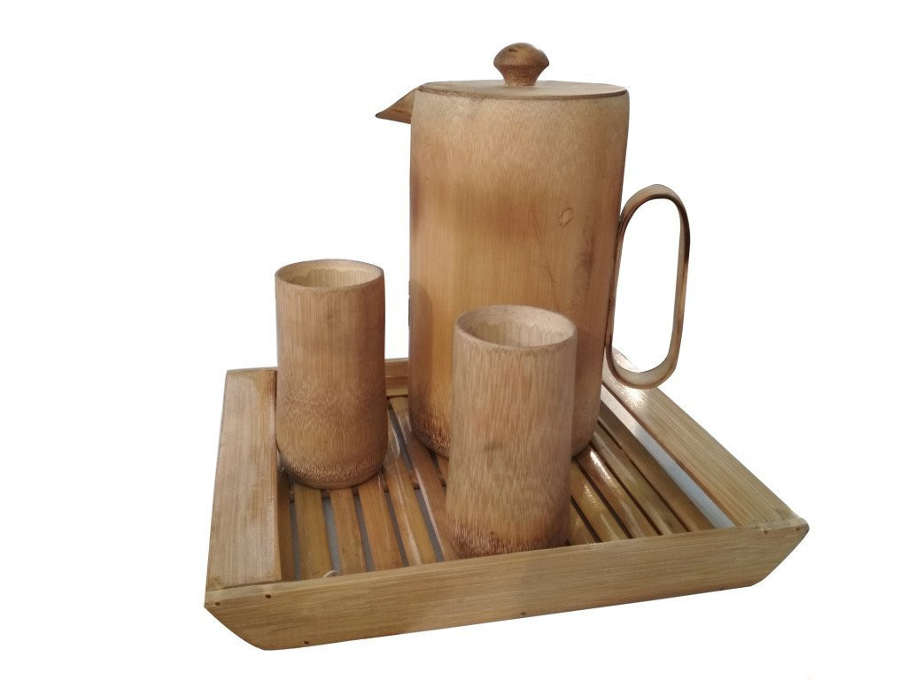 Bamboo Drinking Set 1 Jug 2 Glasses from Assam(#767)-gallery-0