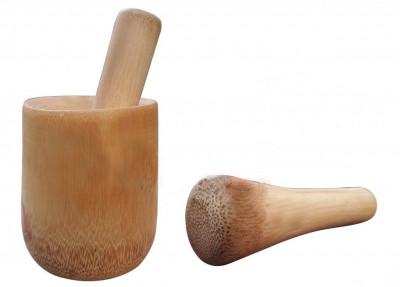Bamboo Hand Grinder Mortar Pestle for Grinding Pepper Onion Garlic Ginger(#776)-gallery-0