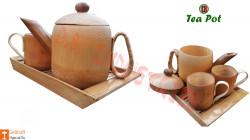 Bamboo Tea pot Crockery Set 1 Tea pot 2 Mugs Assam Handicrafts(#779) - getkraft.com