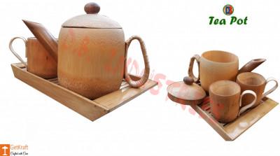 Bamboo Tea pot Crockery Set 1 Tea pot 2 Mugs Assam Handicrafts(#780)-gallery-0