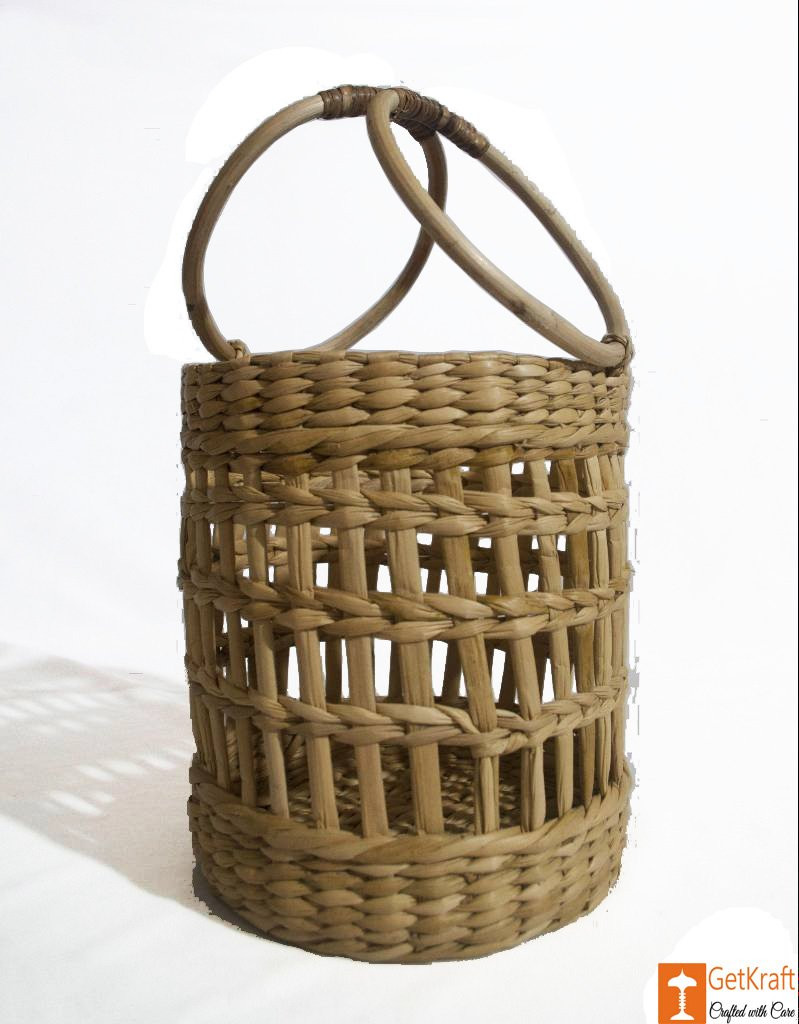 Kouna Cylindrical Designer Net Basket with Handle(#788)-gallery-0