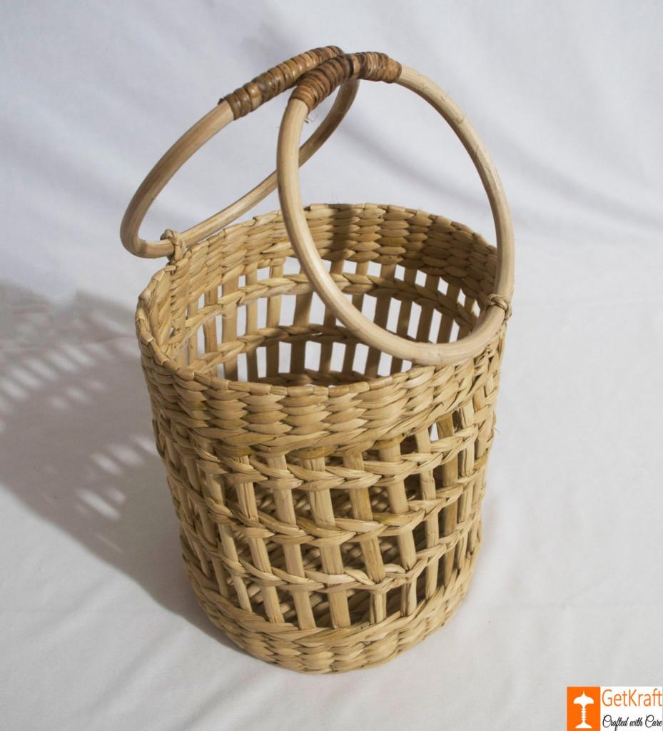 Kouna Cylindrical Designer Net Basket with Handle(#788)-gallery-1