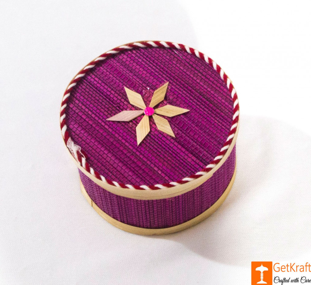 Bamboo Decorative Round Basket for Home(#799)-gallery-1