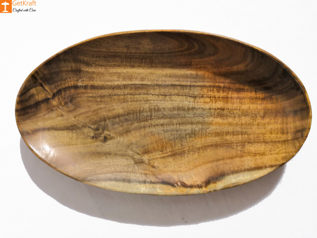 Smooth Finished Wooden Oval-Shaped Catch-all Valet Tray(#815)-gallery-0