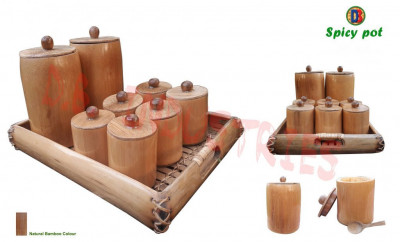 Natural Eco-friendly Bamboo Spice Pot Set(#829)-gallery-0