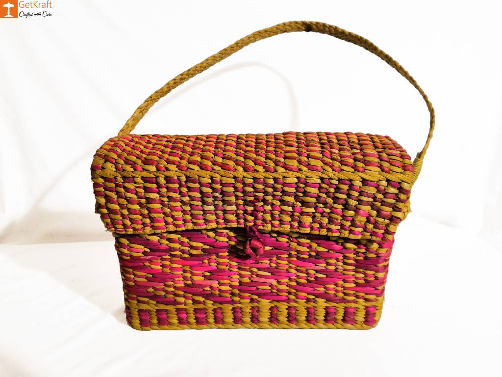 Natural Straw Water Reed Grass Bag Purse(#847)-gallery-0