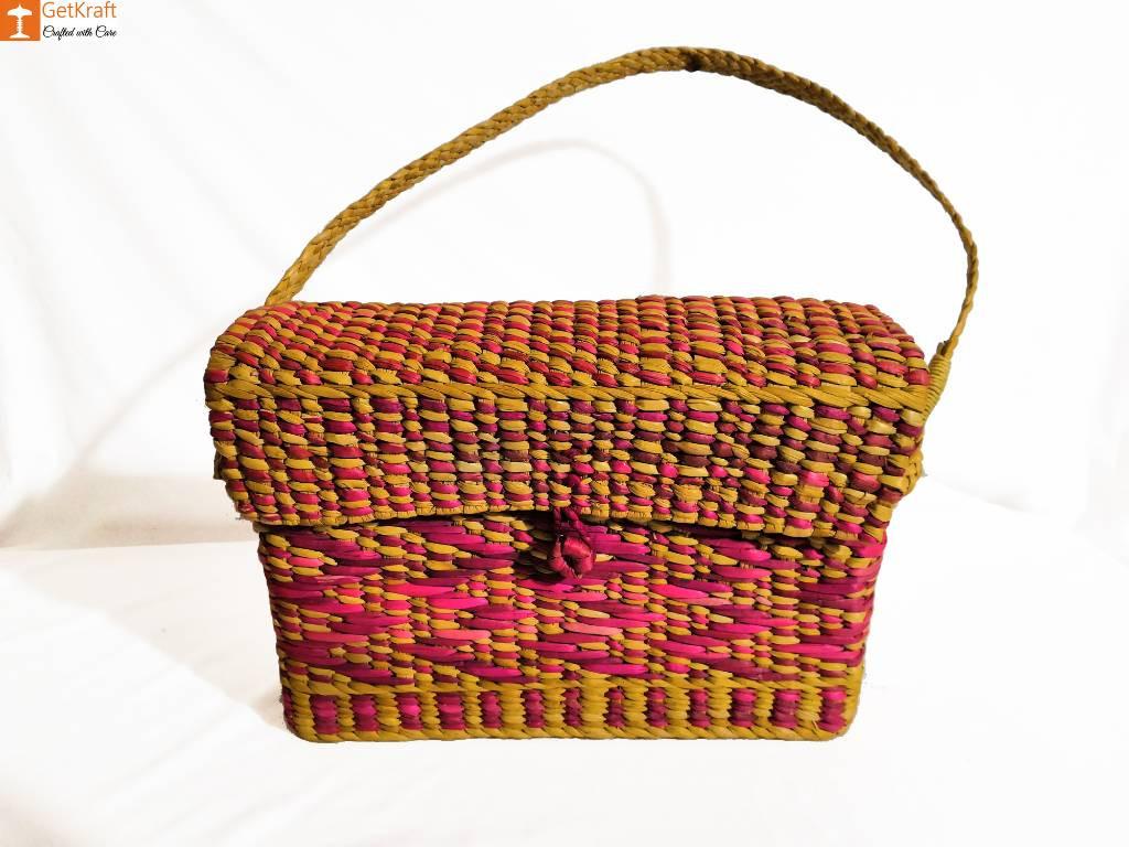 Natural Water Reed Grass Kauna Bag Purse(#847)-gallery-0