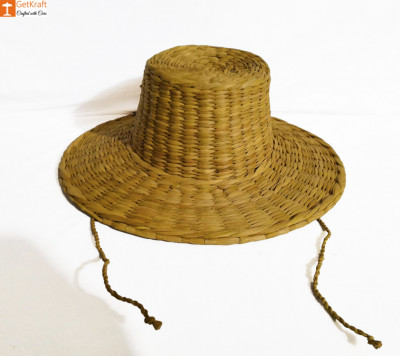 Natural Straw Summer Hat with Laces Water Reed Straw Hat(#852)-gallery-0