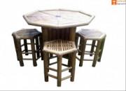 Bamboo Mini Tea Table Bar Table Set(4 Chairs)(#881) - getkraft.com