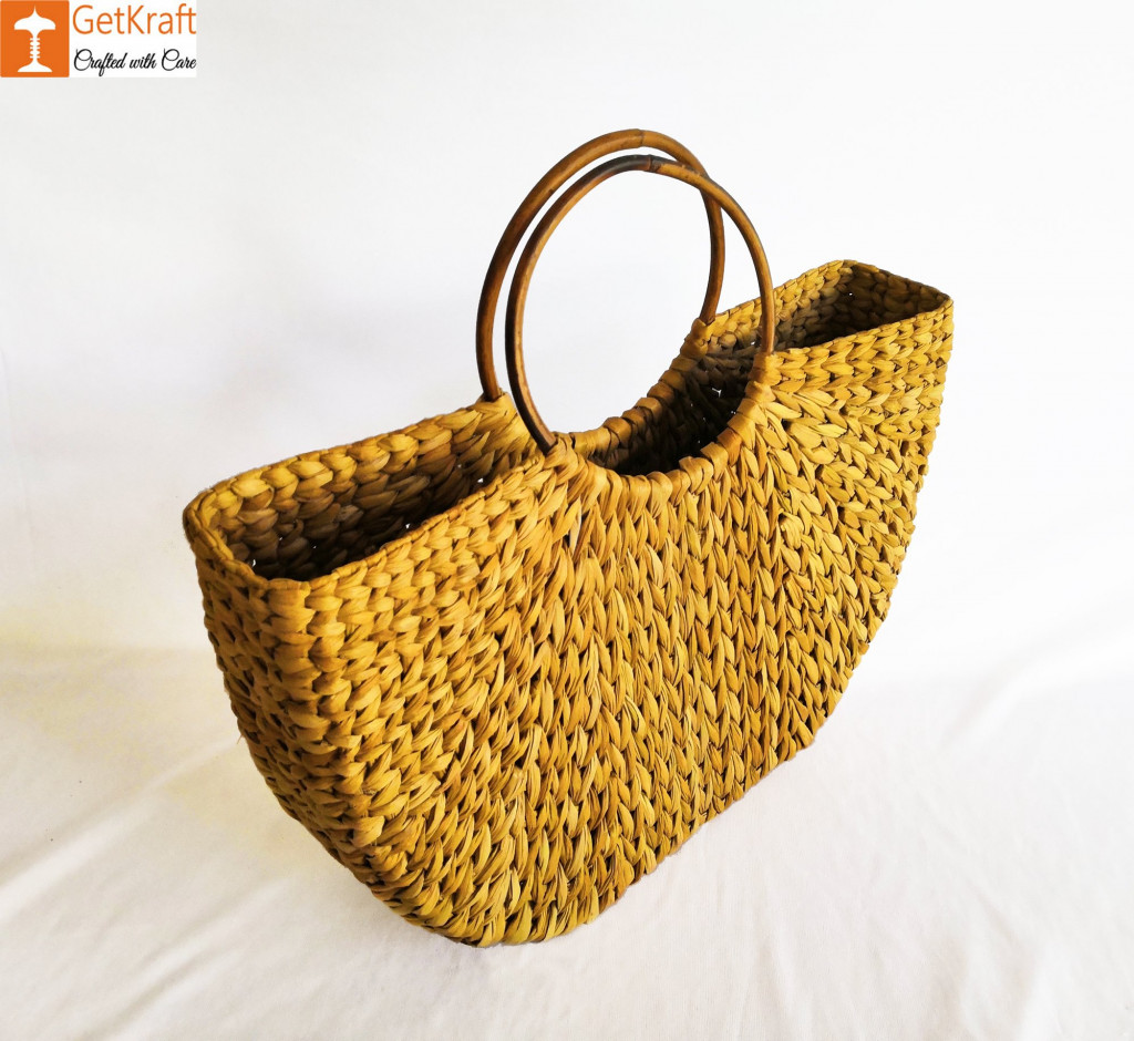 Womens Handmade U bag made of Natural Straw(#888)-gallery-1