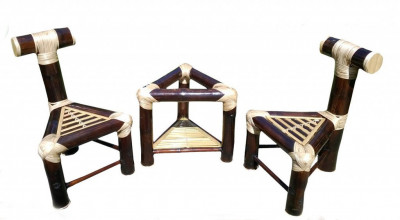 Bamboo Mini Tea Table Bar Table Set(2 Chairs)(#903)-gallery-0