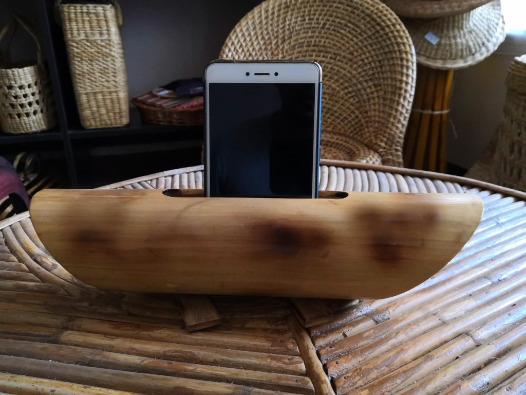 Bamboo Mobile Phone Holder cum Sound Amplifier(#908)-gallery-1