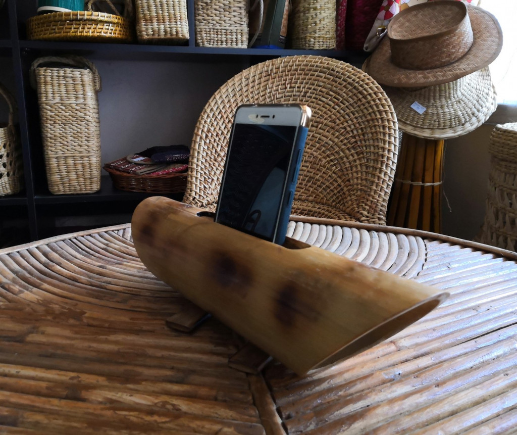 Bamboo Mobile Phone Holder cum Sound Amplifier(#908)-gallery-2