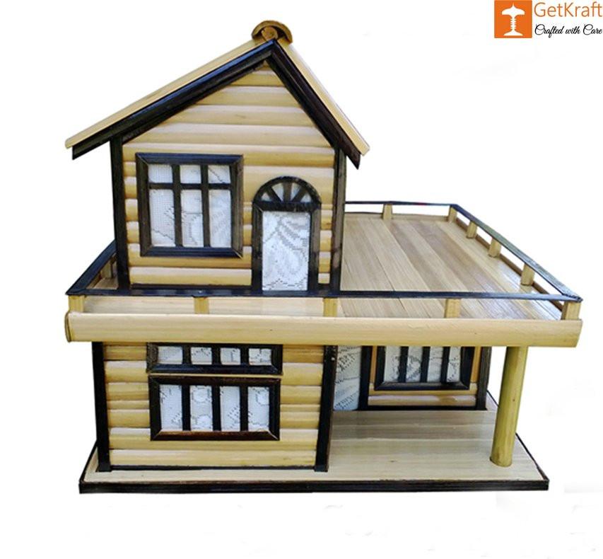 Bamboo Handicraft Table Lamp Home Decor House Shape(#913)-gallery-0