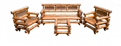 DB Bamboo Sofa Set with Table(#920)-gallery-0