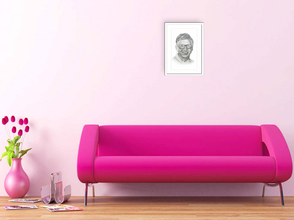 Pencil Sketch Single Person Poster without frame of Bill Gates(#933)-gallery-1