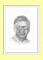 Pencil Sketch Single Person Poster without frame of Bill Gates