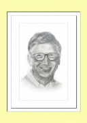 Pencil Sketch Single Person Poster without frame of Bill Gates(#933) - getkraft.com