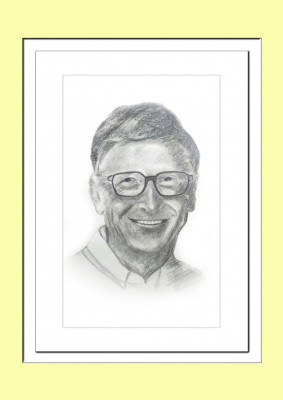 Pencil Sketch Single Person Poster without frame of Bill Gates(#934)-gallery-0