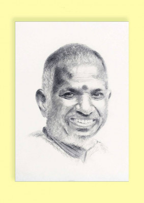 Pencil Sketch Single Person Poster without frame of Music Maestro Ilayaraja(#935)-gallery-0