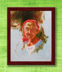 Framed Oil Painting of an Old Woman